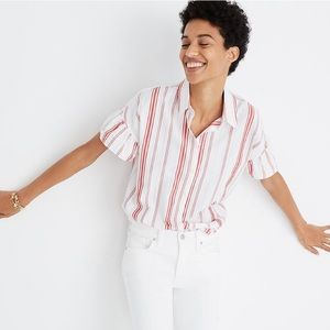 Madewell Central Ruffle Sleeve Top in Carey Stripe